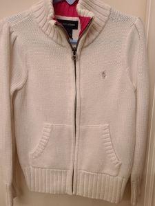 Girl's 6 White Zip sweater jacket Ralph Lauren